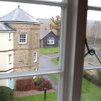 View of holiday properties, Shropshire from window of holiday cottage